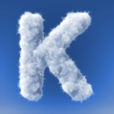 Clouds in shape of the letter 3d render photo