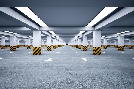 Un parking souterrain sans voitures Banque d'images