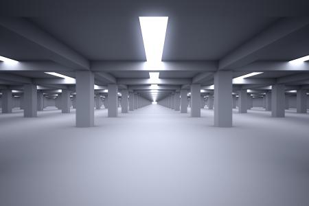 Ondergrondse parkeergarage met geen auto's Stockfoto
