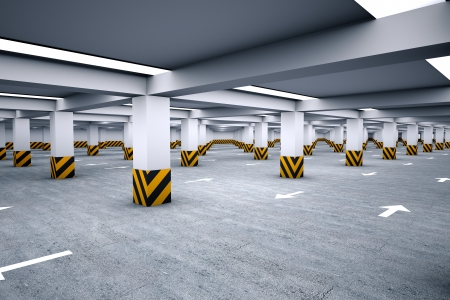 Empty underground parking area 3d render Stock Photo - 23294233
