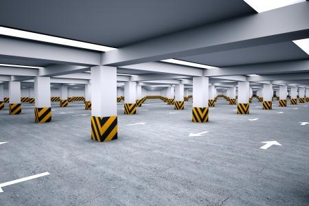 Empty underground parking area 3d render Stock Photo - 23294233