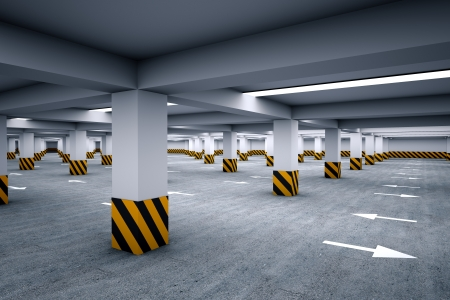 Empty parking area 3d render photo