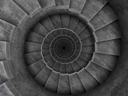 spiral stairs 3d render dark Stock Photo