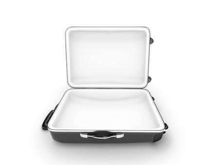 Open metalen geval geïsoleerd op witte achtergrond - 3d render