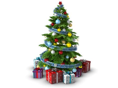 Decorated Christmas tree isolated on white background. photo