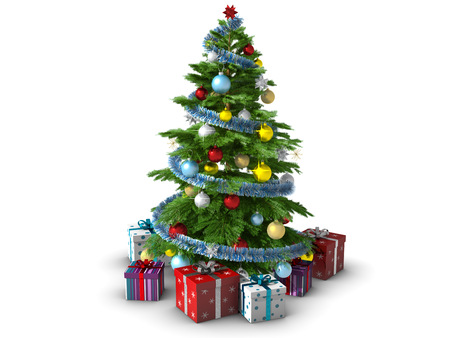 Versierde kerstboom op een witte achtergrond. Stockfoto