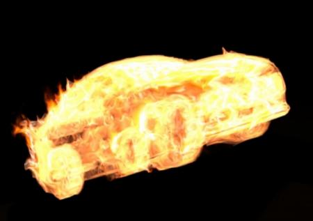 illustration de la voiture en feu