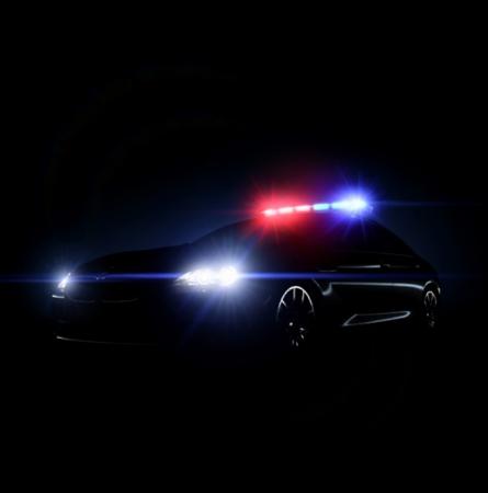 Politie auto met volledige waaier van verlichting en tactische verlichting. vector