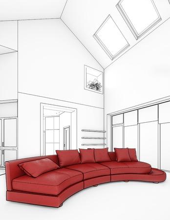 prestige: modern interior design white color Stock Photo