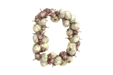 Garlic letter on white background, high quality 3d render photo