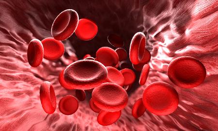 fluss: Rote Blutzellen. Blut-Elemente - rote Blutk�rperchen f�r den Sauerstoff�bertrag, Regulierung pH Blut, einem Lebensmittel und der Schutz der K�fige des Organismus verantwortlich.