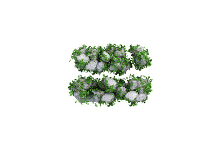 Stone symbol covered with ivy, on white background. photo