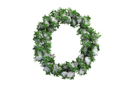 Stone letter covered with ivy, on white background. photo