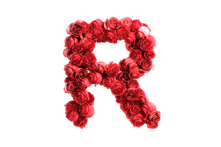 Red roses letter, isolated on white background. photo