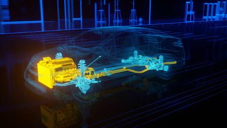 città panoramica struttura auto in stile filo. il rendering 3D