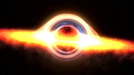 black hole: Black hole attracting space matter. 3d rendering