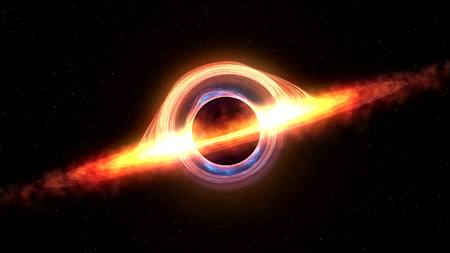 Black hole attracting space matter. 3d rendering