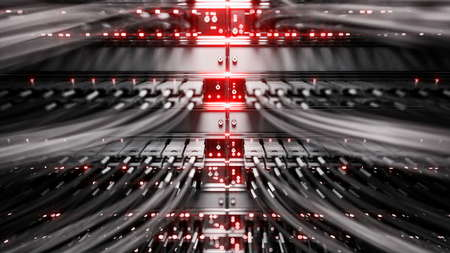network server: Lights and connections on network server. 3d rendering