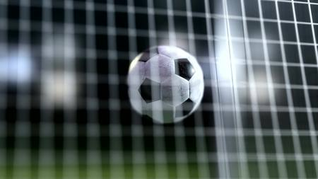 slow motion: soccer ball slow motion to the goal. Football ball 3d rendering