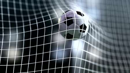 soccer ball slow motion to the goal. Football ball 3d rendering