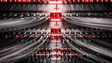 Las luces y las conexiones en servidor de red. Las 3D
