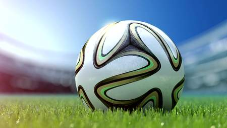 football ball in soccer arena. 3d rendering