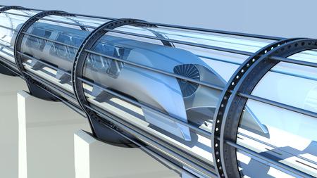 monorail futuristic train in a tunnel. 3d rendering