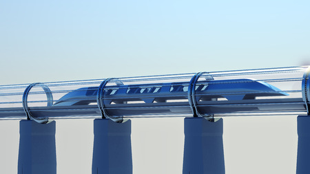 monorail futuristic train in a tunnel. 3d rendering