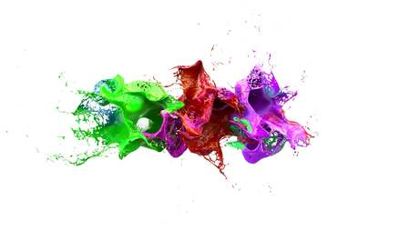 slow motion: liquid ink colourful eplosion 3d illustration