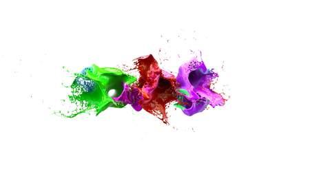 liquid ink colourful eplosion 3d illustration