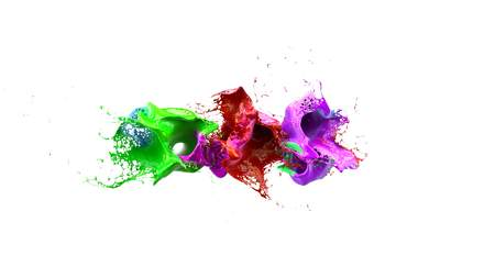 liquid ink colourful eplosion 3d illustration