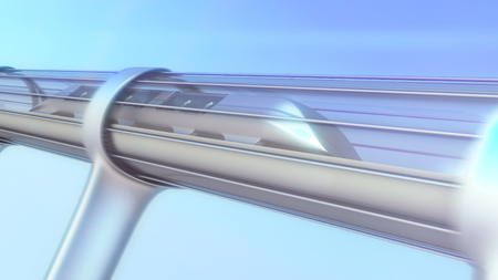 high speed train: monorail futuristic train in tunnel. 3d illustration