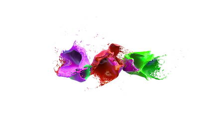 slow motion: inks splashes in white background 3d illustration Stock Photo