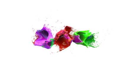 water splash isolated on white background: inks splashes in white background 3d illustration Stock Photo
