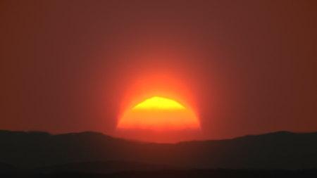 Awesome sunrise over mountanis 3d illustration Stock Photo