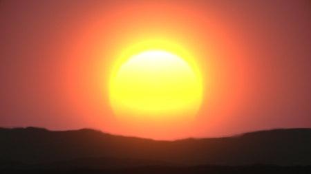 Awesome sunrise over mountanis 3d illustration Stock fotó