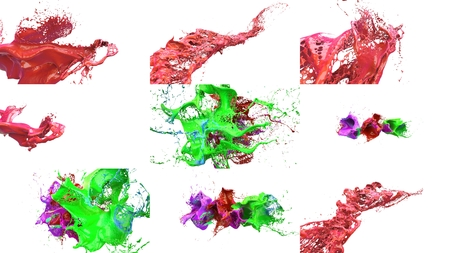 slow motion: inks splashes in white background 3d illustration set