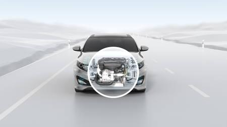 Stadtauto Strukturübersicht während der Fahrt. 3D-Darstellung Standard-Bild - 70443014