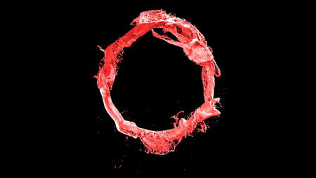 ink forming a circle on black 3d illustration Stock Photo