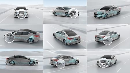 City car structure overview during driving. 3d illustration set Standard-Bild