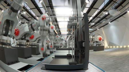 assembling: Robotic Arm Assembling 3d Printer On Conveyor Belt 3d illustration