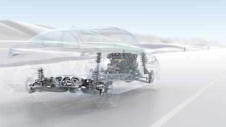 Stadsauto structuur overzicht tijdens het rijden. 3d illustratie
