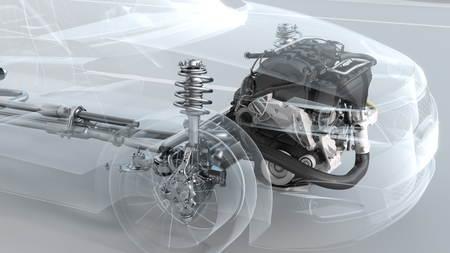 市内走行中に車の構造の概要。3 d イラストレーション 写真素材