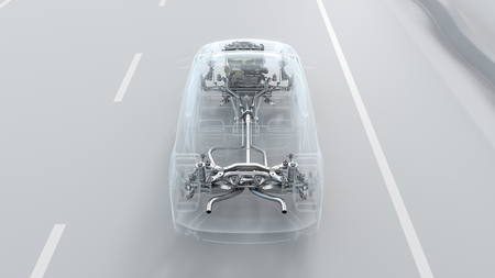 City car structure overview during driving Top View . 3d illustration