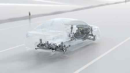 combustion: Abstract city car structure overview during drive. Opacity design 3d illustration