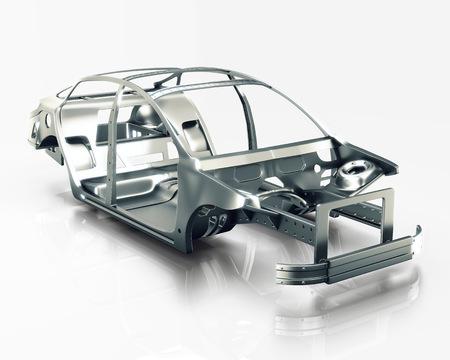 Cadre de voiture isolé. Illustration 3D Banque d'images