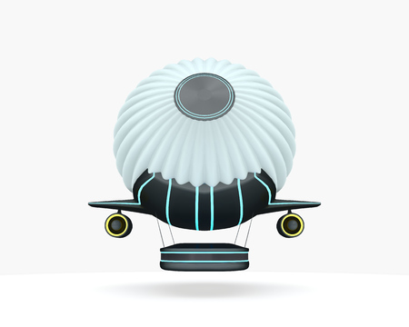 Balloon fly ship isolated on wnite. Future concept model. 3d illustration.