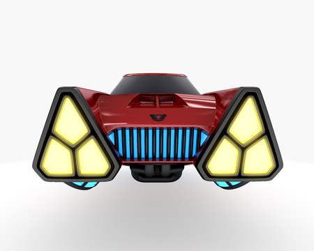 Concept car of future transport system, isolated on white. 3d illustration