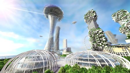 Het concept toekomstige skyline van de stad. Futuristisch zakelijke visie concept. 3d illustratie Stockfoto