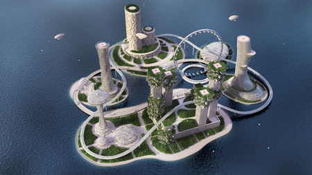 concept future city skyline. Futuristic business vision concept. 3d illustration